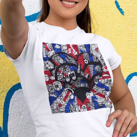 shirt-mockup-of-a-woman-doing-the-peace-sign-against-a-street-art-wall